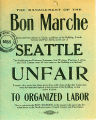 "Notice identifying the Bon Marche as ""unfair to organized labor"""