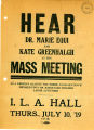 Flyer advertising a mass meeting in support of Dr. Marie Equi