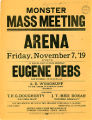 Flyer for mass meeting held by the Workers Industrial Peace League in honor of Eugene Debs's...