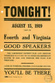 """Tonight""; advertisement for a meeting to be held by the Soldiers and Sailors Council on..."