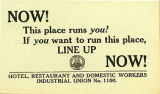 Hotel, Restaurant and Domestic Workers Industrial Union No. 1100 business card