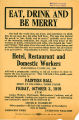 Advertisement for a propaganda meeting of the Hotel, Restaurant and Domestic Workers Industrial...