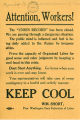 "Message to workers to ""keep cool"" from William Short, November 15, 1919"