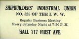 Business card of the Shipbuilders' Industrial Union No. 325