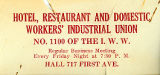 Hotel, Restaurant and Domestic Workers' Industrial Union No. 1100 business card