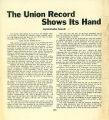 "Everett Labor Journal reprint of an article entitled ""The Union Record Shows Its Hand"",..."