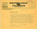 Henry Suzzallo telegram to U.S. Secretary of Labor William B. Wilson regarding an eight hour work...