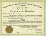 Certificate of Affiliation for the Cannery Workers and Farm Laborers Union to the United Cannery,...