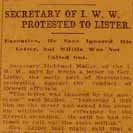 072. Secretary of I.W.W. Protested to Lister