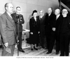 Arthur B. Langlie with other dignitaries at the University of Washington Health Sciences Building,...