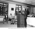 Govenor Booth Gardner speaking at Govenors' Writers Award Day ceremony, Jun 6, 1991