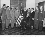 Mildred Powell and the Seattle City Council, at presentation of flag to Seattle Mayor William F....