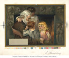 Henry Wadsworth Longfellow seated before a fireplace with three children,  n.d.