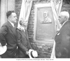 William B. Severyns, Clarence B. Bagley, and Oliver T. Erickson at dedication of memorial plaque...