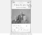 New Year card for 1889-1890, with photograph of Henry L. Yesler, Bailey Gatzert, and M.R. Maddocks