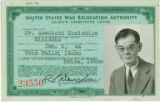 Frank Asakichi Kunishige, alien's indefinite leave card for the Minidoka Relocation Camp, January...