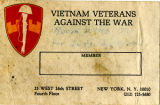 Vietnam Veterans Against the War Membership Card, 1971-1974