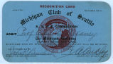 Michigan Club of Seattle pass, Alaska Yukon Pacific Exposition, Seattle, Washington, 1909
