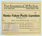 Alaska Yukon Pacific Exposition stock share owned by Edmond S. Meany