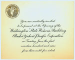 Invitation to the Washington State Women's Building opening ceremonies, Alaska Yukon Pacific...