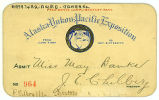 President's complimentary pass for Miss Nancy Banks to the Alaska Yukon Pacific Exposition, 1909