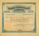 Edmond S. Meany capital stock certificate issued by the AYP Corporation to fund the Alaska Yukon...