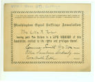 Washington Equal Suffrage Association life membership card belonging to Mrs. Lillie R. Parker,...