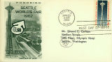 First day of issue cover featuring a stamp of the Space Needle at the Seattle World's Fair, 1962