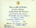 Invitation to the Closing Day Ceremonies of the Seatttle World's Fair honoring the President of...