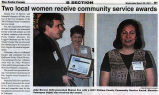 'Two Local Women Receive Community Service Awards,' printed in the Forks Forum, March 28, 2001