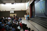 High school students speaking at the Bilingual Awards assembly, Forks Elementary School, Forks,...