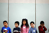 Children at the Bilingual Awards assembly, Forks Elementary School, Forks, 2005