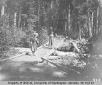 Mrs. J. W. Slayden and Mrs. H. M. Sarvant crossing a foot bridge on a trail across Paradise River,...