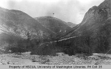 Dyea River at Sheep Camp, with Chilkoot Pass on the right in distance, September 4, 1897