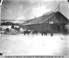 Dogsled in front of the Selkirk Hotel, Yukon Territory, March 12, 1901