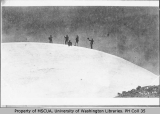 Five men on the summit of Mount Rainier, ca. 1896