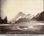 Mount Rainier peaks and water pools, ca. 1896