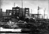 Aftermath of the Seattle fire of June 6, 1889, showing the ruins of buildings.