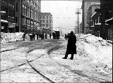 Street scene in downtown after a snowfall, ca. 1916