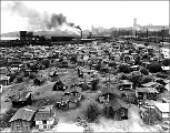 Homeless shantytown known as Hooverville, foot of S. Atlantic St, ca. 1937