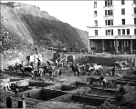 Excavating the foundation for the new Washington Hotel at 2nd Ave. and Stewart St., November 26,...