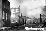 Aftermath of the Seattle fire of June 6, showing the ruins of buildings, 1889