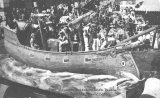 Float representing ship Discovery in the Golden Potlatch Parade, ca. 1912