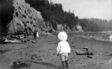 Child on the beach at Fort Lawton, n.d.