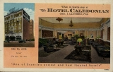 Hotel Caledonian, exterior and hotel lobby, n.d.