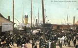 Crowds and steamships docked at Pier 4, vicinity of Spring St., Seattle, n.d.