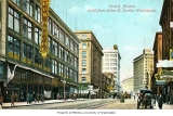 2nd Ave., looking north,  from Union St. showing the Bon Marche store on the left, Seattle, n.d.