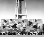 Outdoor art exhibit, mural by Paul Horiuchi, Century 21 Exposition, 1962