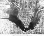 Aerial view of the University of Washington campus, Portage Bay, the University Bridge, and a...