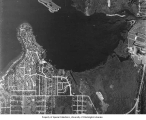 Aerial view of the University of Washington campus and Union Bay, January 30, 1937